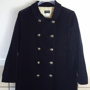 J Crew black velvet long peacoat Size 14 GUC